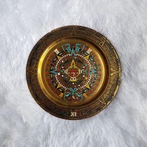 Vintage Mexican Aztec Calendar Copper Plate